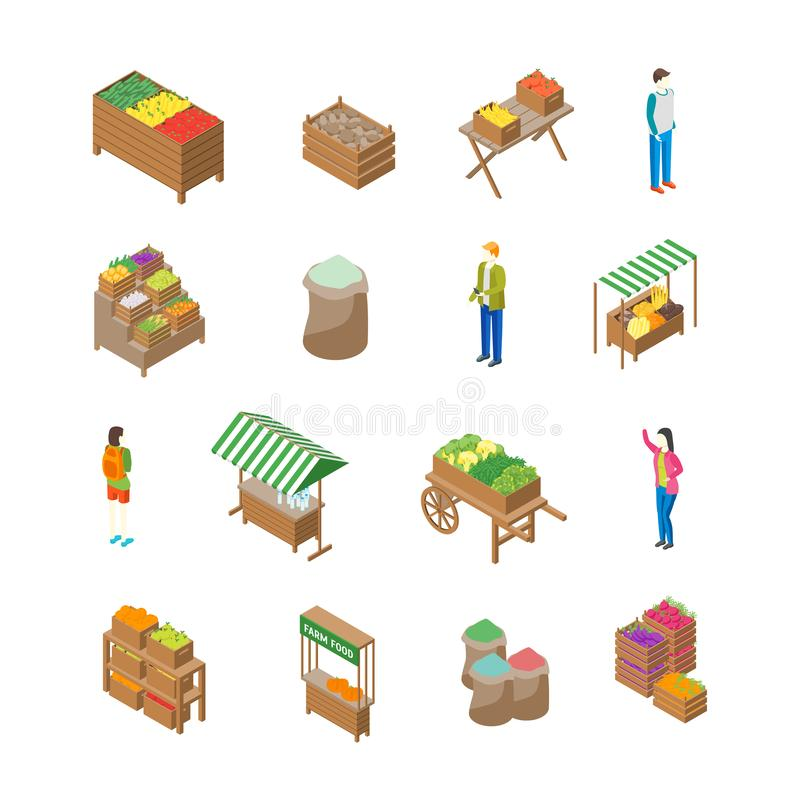 Rolny miejscowego rynku pojęcia ikony 3d Isometric widok wektor royalty ilustracja