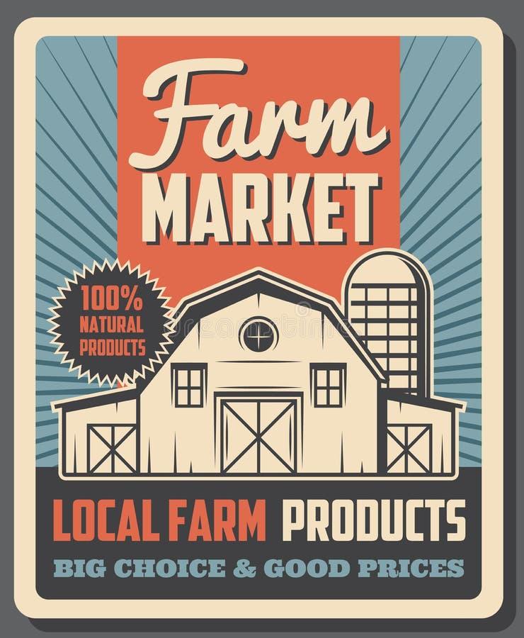 Rolny rynek, organicznie lokalni średniorolni eco produkty ilustracja wektor