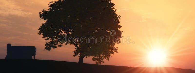 rolny samotny drzewo ilustracji