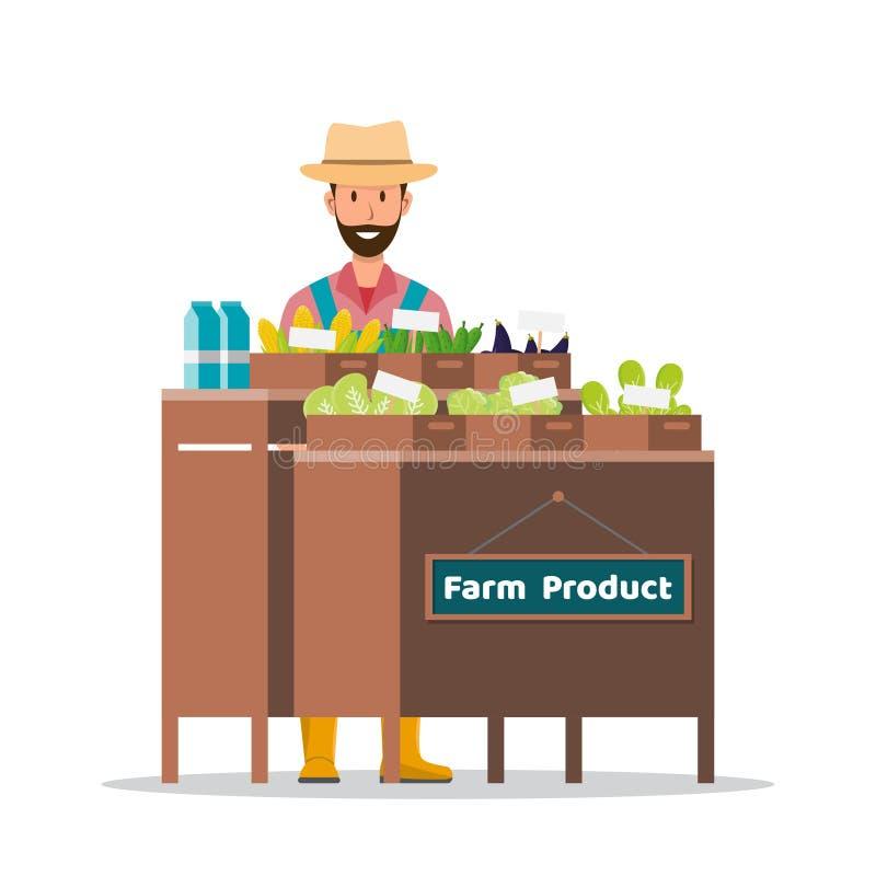 Rolny sklep rynek lokalny Sprzedawania owoc i warzywo ilustracja wektor
