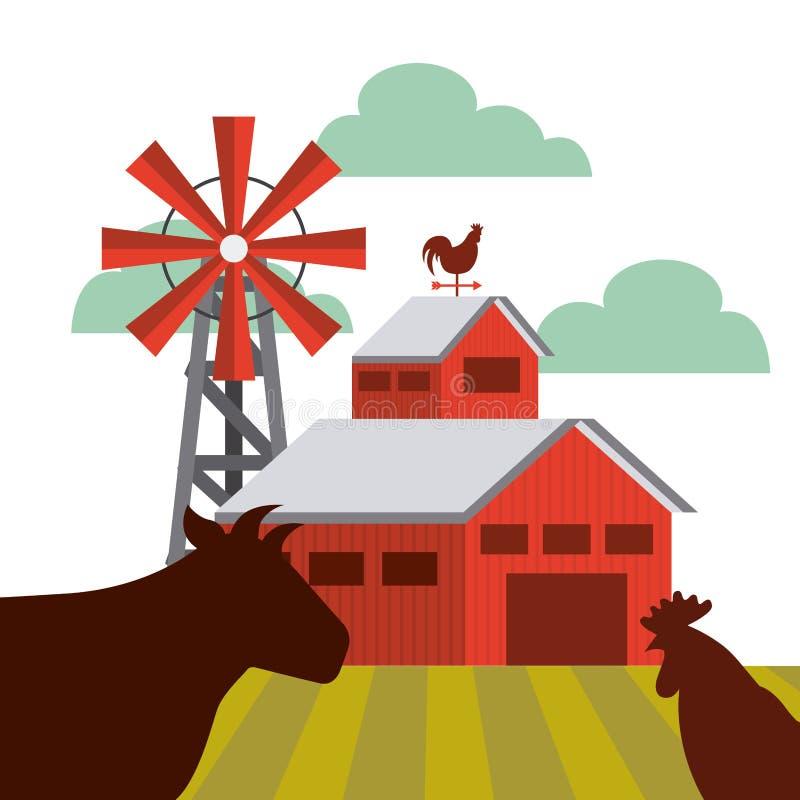 Rolny stajnia projekt ilustracja wektor