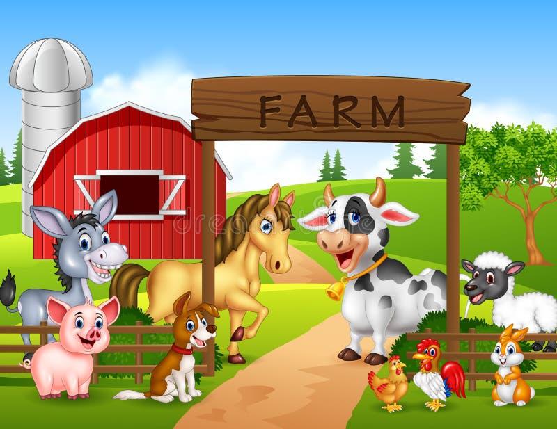 Rolny tło z zwierzętami royalty ilustracja