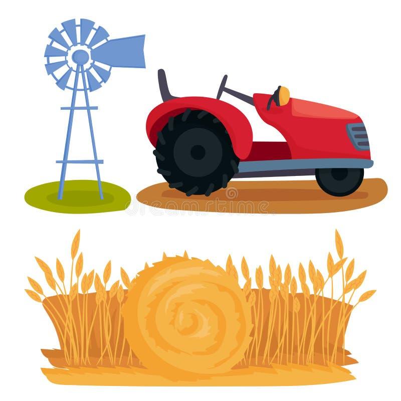 Rolny wektorowy ilustracyjny natury agronomii wyposażenie zbiera zbożowego rolnictwo przyrosta kultywował projekt ilustracji