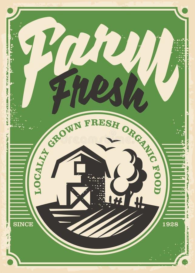 Rolnych świeżych produktów retro plakatowy projekt ilustracja wektor