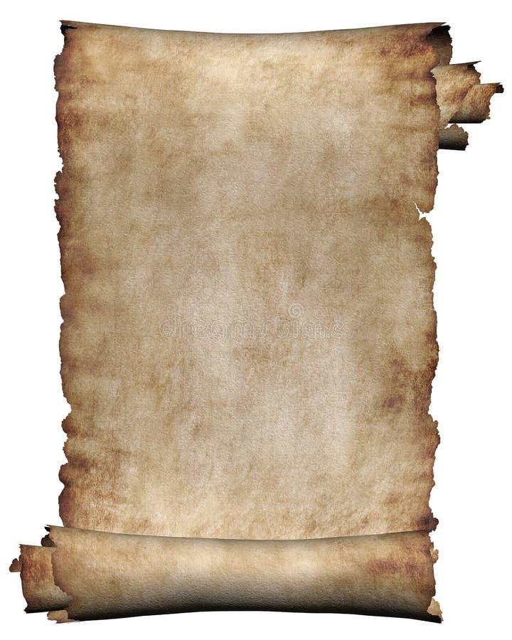 Rolo áspero do manuscrito do fundo da textura do papel de pergaminho isolado no branco