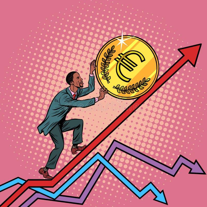 Rolo afro-americano do homem uma euro- moeda acima ilustração royalty free