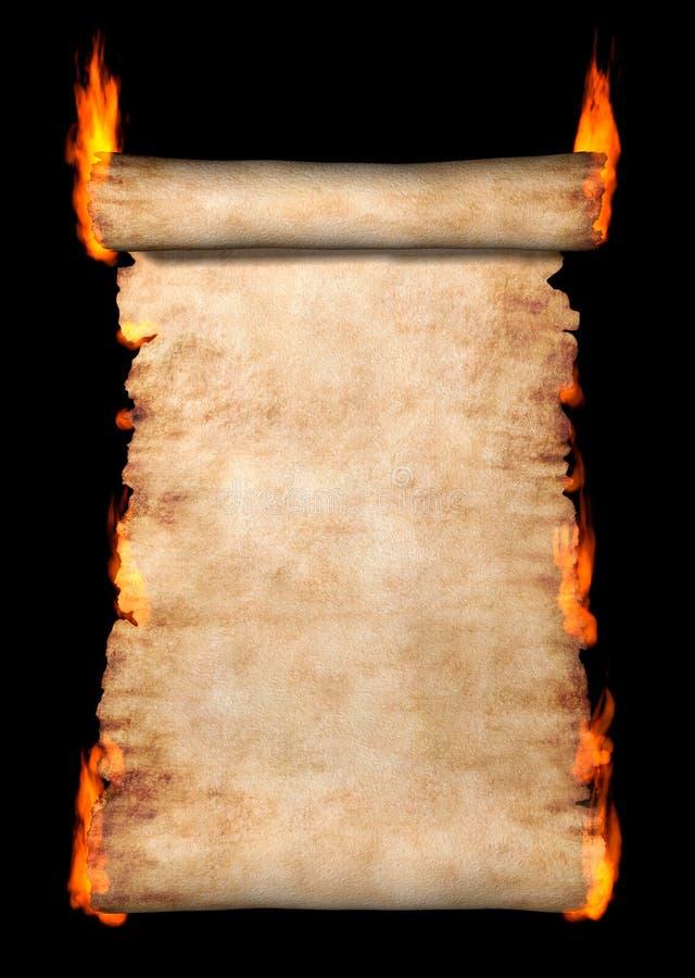 Rolo ardente do pergaminho ilustração royalty free
