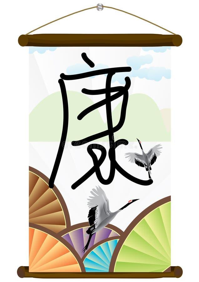 Rolo caligráfico chinês da saúde ilustração do vetor