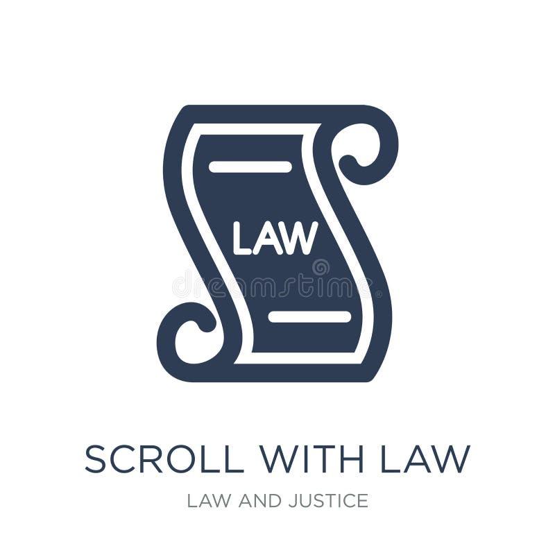 Rolo com ícone da lei Rolo liso na moda do vetor com ícone da lei sobre ilustração stock