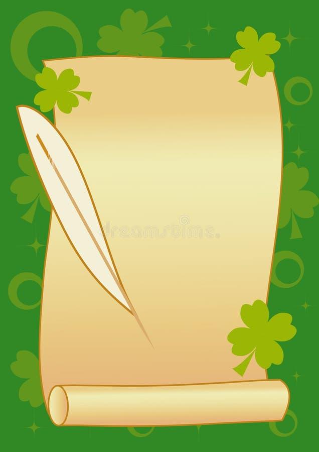 Rolo com a pena no fundo verde ilustração royalty free