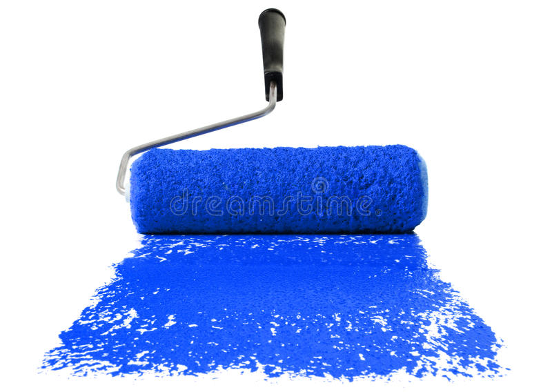 Rolo com pintura azul imagens de stock royalty free