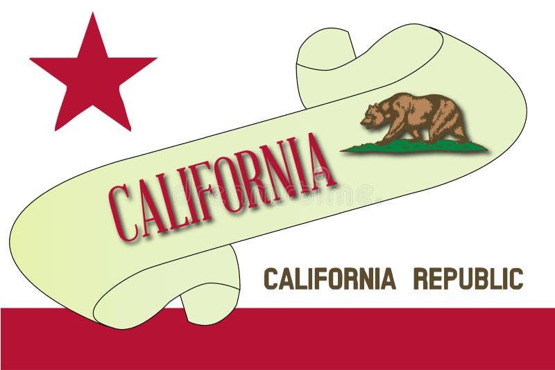 Rolo da bandeira de Califórnia ilustração do vetor