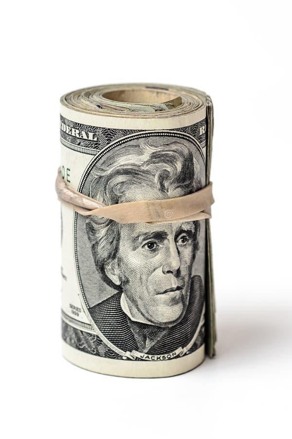 Rolo da moeda de Estados Unidos do dinheiro foto de stock royalty free