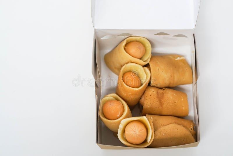 Rolo da panqueca com salsicha imagem de stock