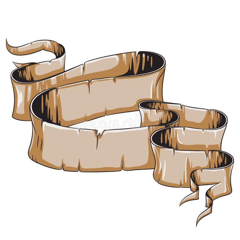 Rolo danificado antigo do papiro ilustração royalty free