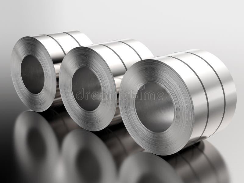 Rolo das chapas de aço na fábrica ilustração do vetor