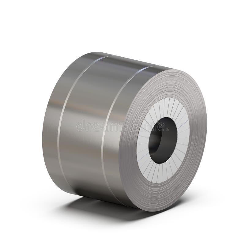 Rolo de aço de folha envolvido com fita de embalagem Produção de rolamento do metal rendição 3d ilustração do vetor