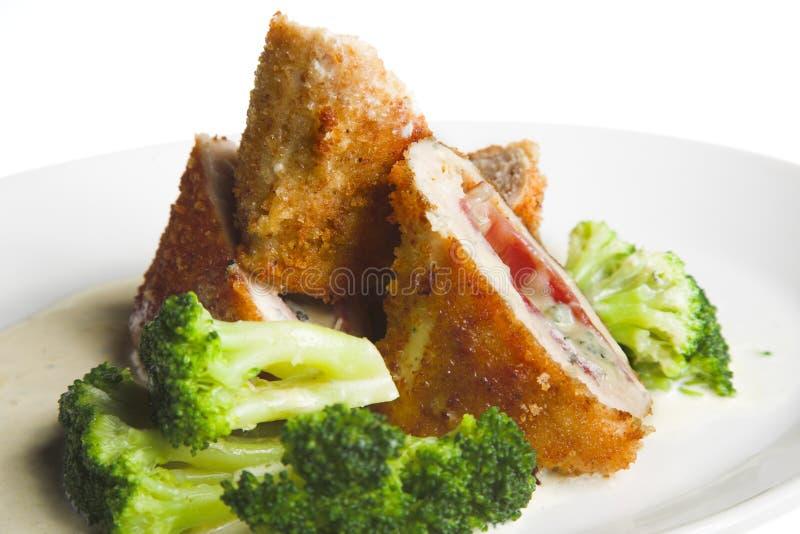 Rolo de carne com bróculos fotos de stock royalty free
