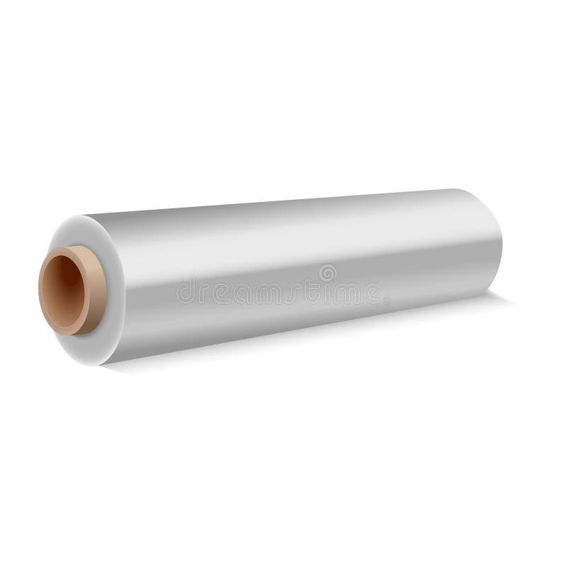 Rolo de envolver o filme de estiramento plástico no fundo branco Ilustração do vetor ilustração stock