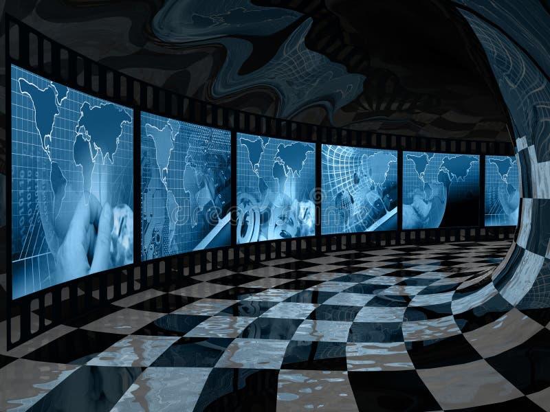 Rolo de filme com imagens azuis sobre uma comunicação ilustração stock