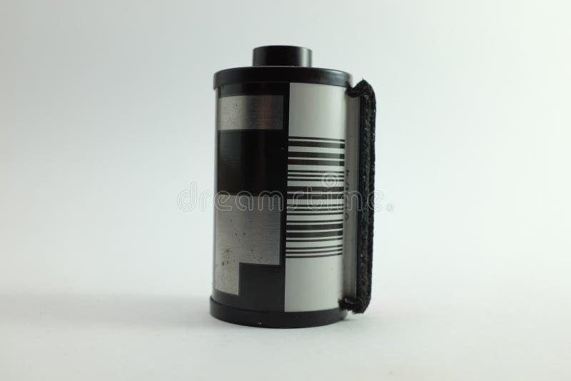 Rolo de filme no cartucho no fundo branco isolado foto de stock