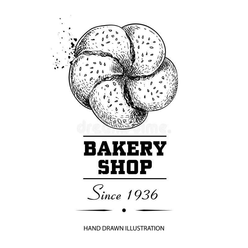 Rolo de pão com o desenho de esboço da opinião superior de sementes de sésamo Produto tirado mão da loja da padaria do estilo do  ilustração do vetor