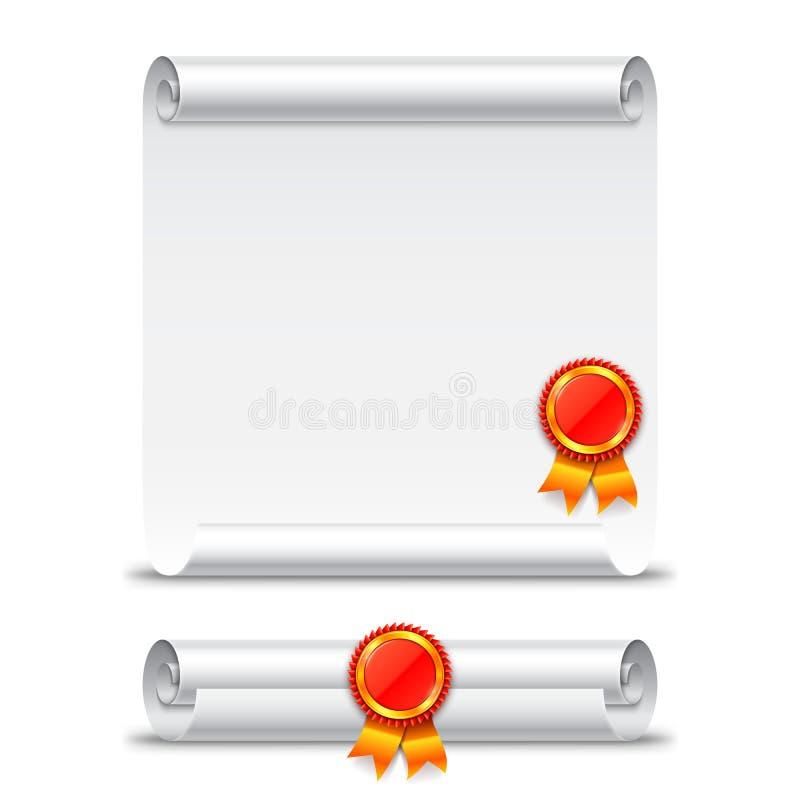 Rolo de papel do diploma ilustração do vetor