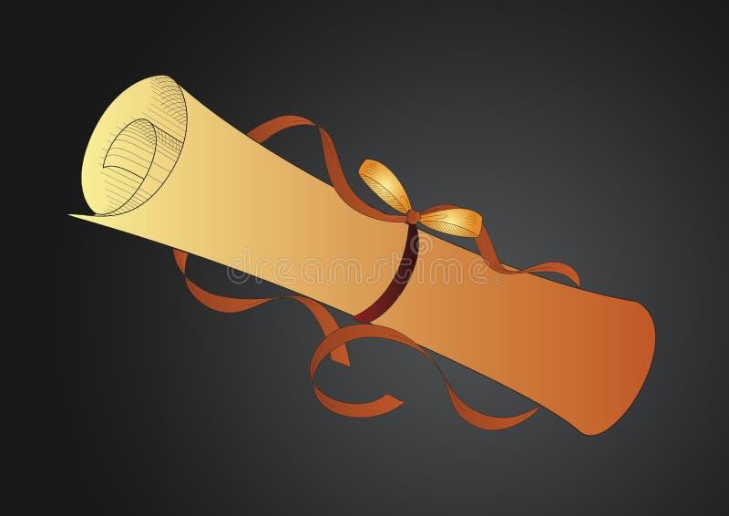 Rolo de papel dourado ilustração do vetor