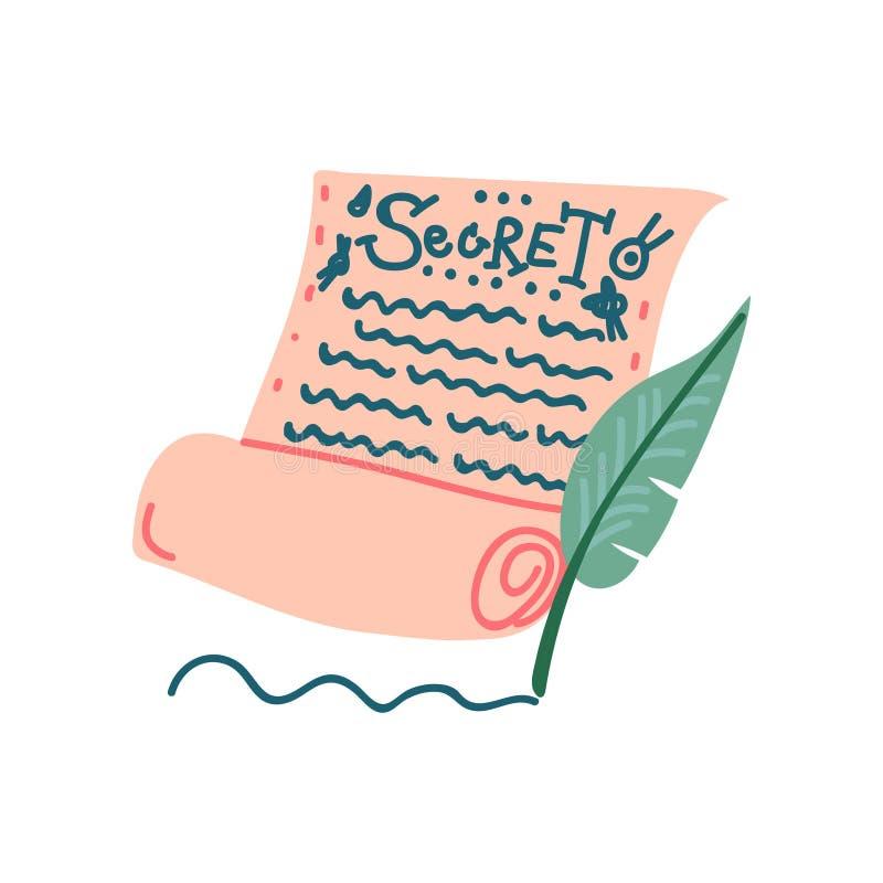 Rolo de papel secreto, objeto mágico, ilustração do vetor do atributo da feitiçaria ilustração do vetor