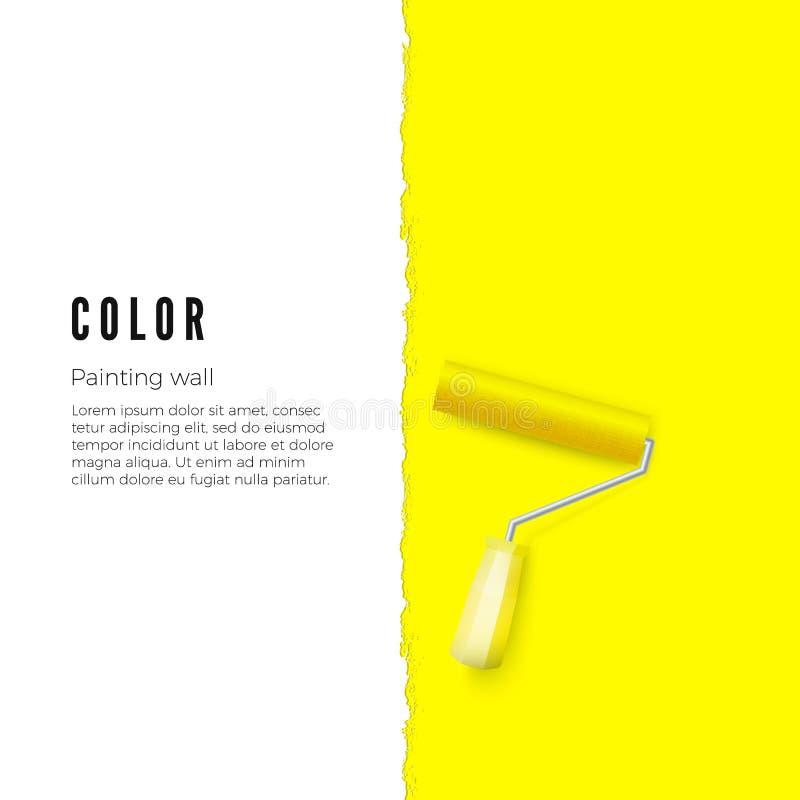 Rolo de pintura com pintura amarela e espaço para o texto ou outro projeto na parede vertical Ilustração do vetor ilustração do vetor