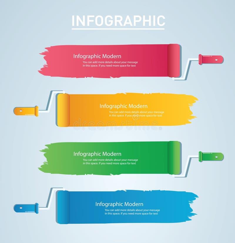 rolo de pintura com espaço para o molde gráfico do vetor da informação do texto com 4 opções Pode ser usado para o diagrama da We ilustração royalty free