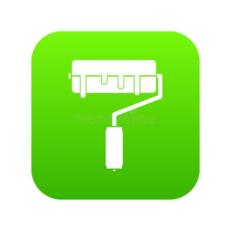 Rolo de pintura com verde digital do ícone da pintura ilustração do vetor
