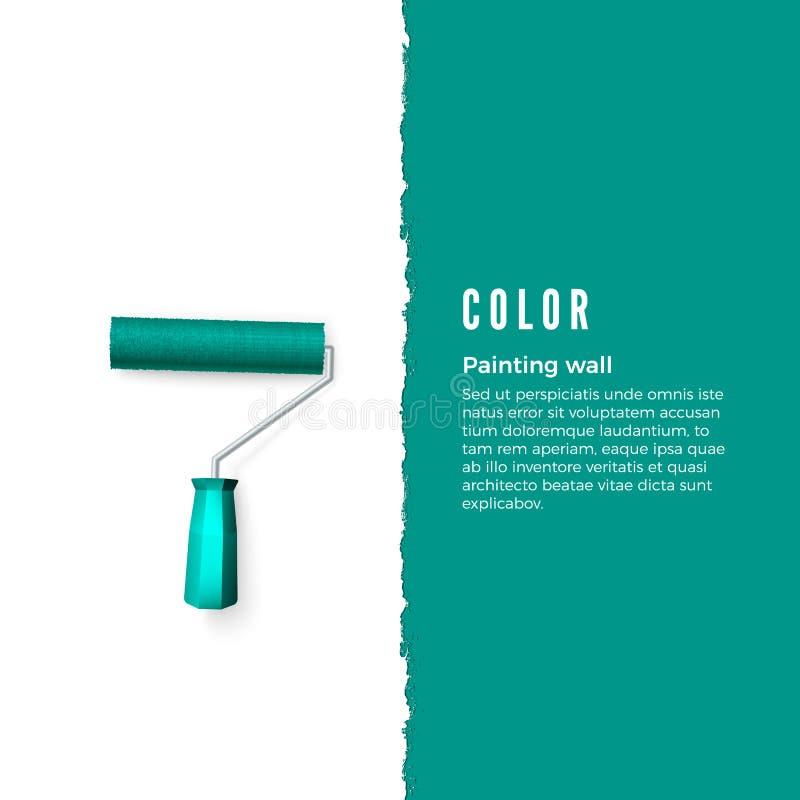 Rolo de pintura com pintura verde e espaço para o texto ou outro projeto na parede vertical Escova do rolo para o texto Ilustraçã ilustração royalty free