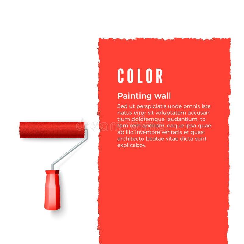 Rolo de pintura com pintura vermelha e espaço para o texto ou outro projeto na parede vertical Escova do rolo para o texto Vetor ilustração stock