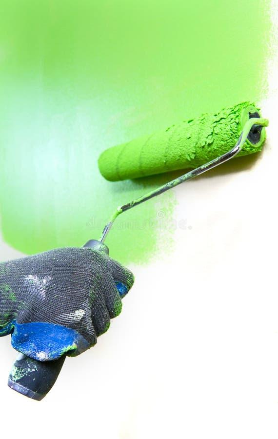 Rolo De Pintura Verde Fotos de Stock