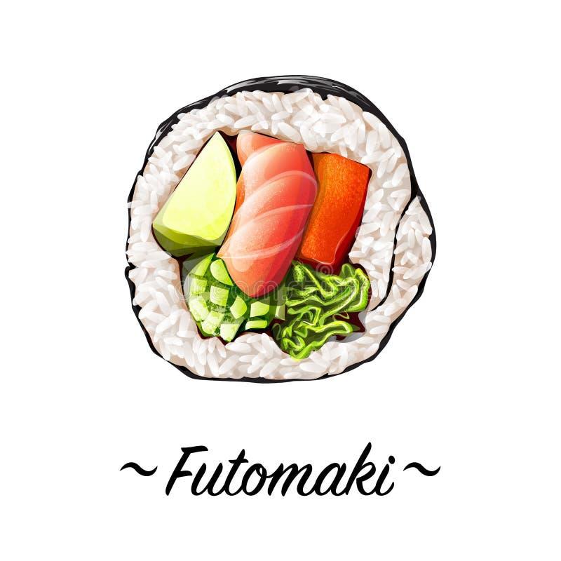 Rolo de sushi de Makizushi Futomaki ilustração royalty free