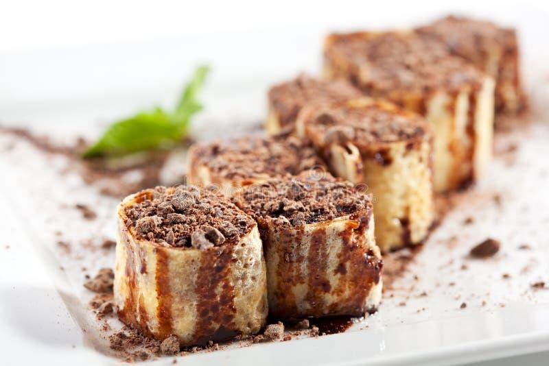 Rolo de sushi do chocolate foto de stock royalty free