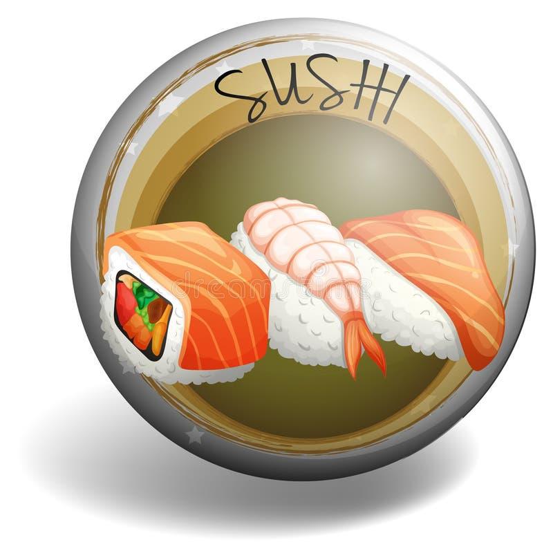 Rolo de sushi no crachá redondo ilustração do vetor