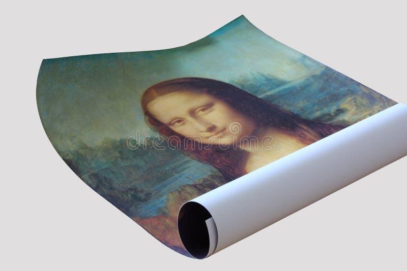 Rolo do cartaz de Mona Lisa foto de stock royalty free