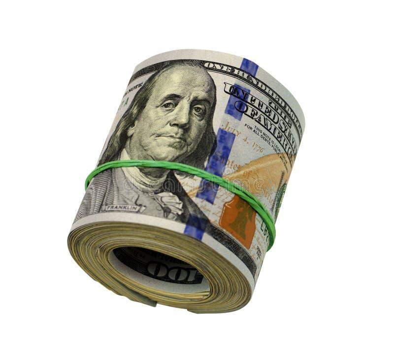 Rolo do dólar apertado com faixa Dinheiro rolado isolado no branco foto de stock royalty free