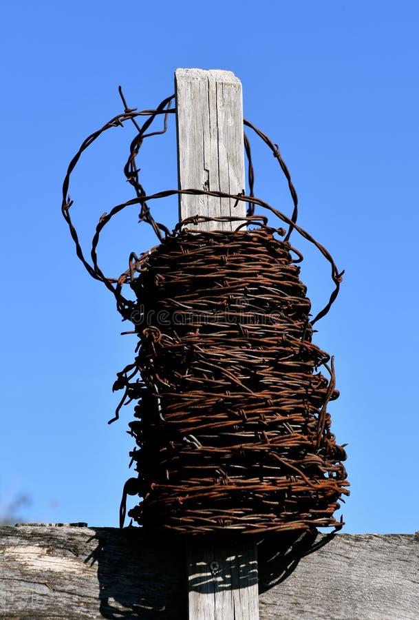 Rolo do fio velho da farpa em uma cerca fotos de stock