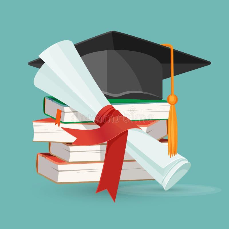 Rolo do grau, pilha dos livros e tampão preto da graduação ilustração royalty free
