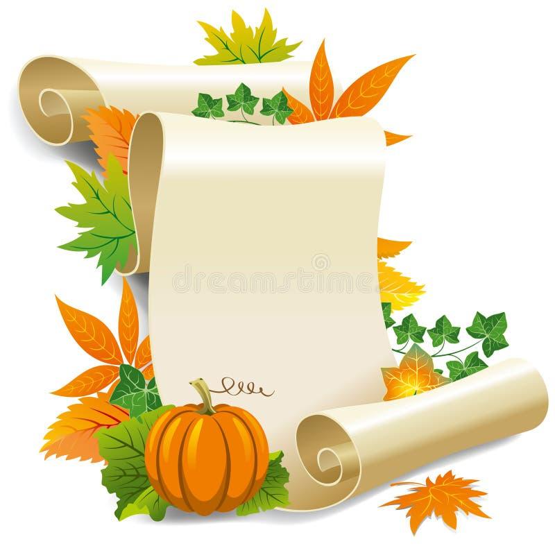 Rolo do papel e das folhas de outono velhos ilustração do vetor