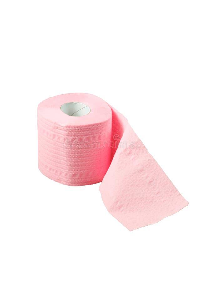 Rolo do papel higiénico cor-de-rosa fotografia de stock royalty free