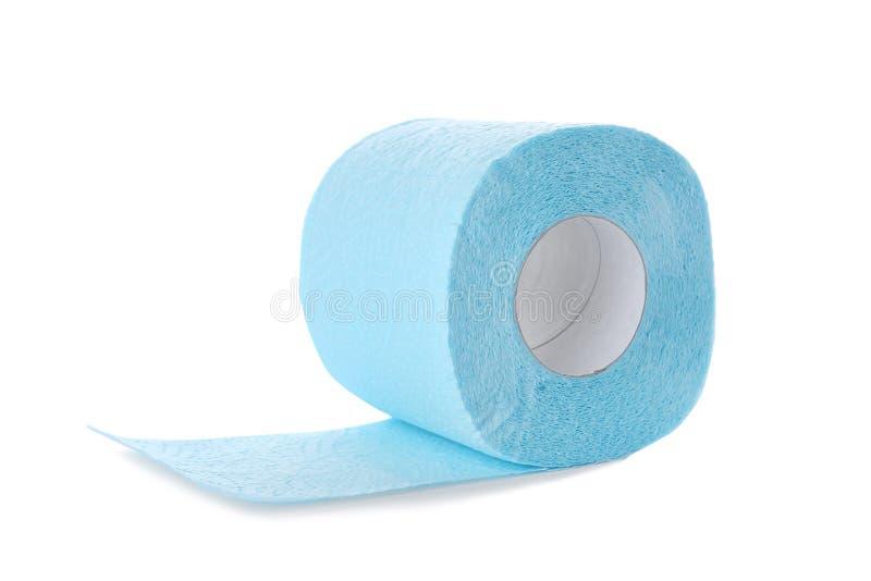 Rolo do papel higiénico no fundo branco imagens de stock