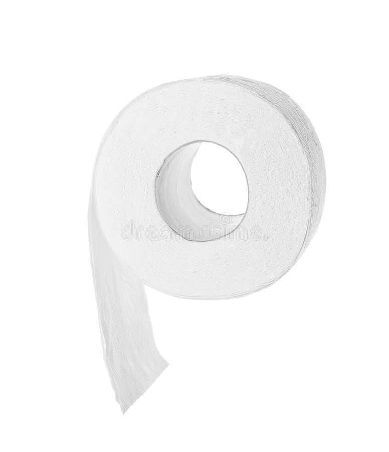 Rolo do papel higiénico no fundo branco fotos de stock