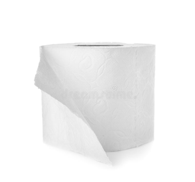 Rolo do papel higiénico no fundo branco fotografia de stock