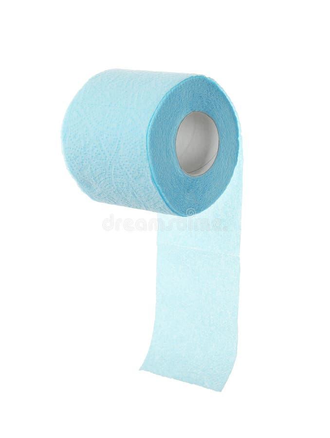 Rolo do papel higiênico no fundo branco imagem de stock