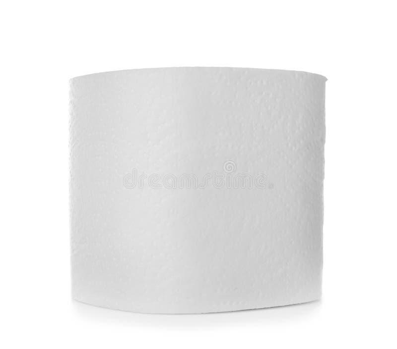 Rolo do papel higi?nico no fundo branco foto de stock