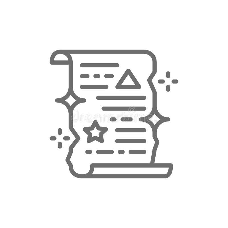 Rolo do período mágico, linha de papel desenrolada ícone do certificado ilustração stock